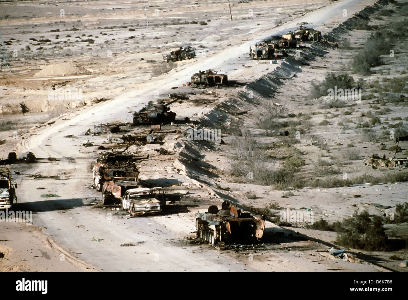 Iraqi Army armored vehicles destroyed while retreating line Highway 8 during the Gulf War April 8, 1991 in Mutla - Stock Image