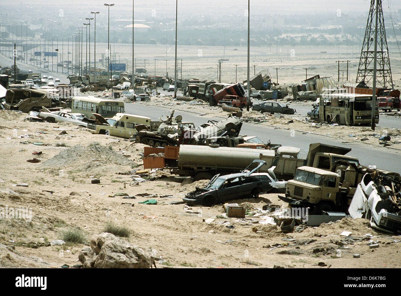 Iraqi Army armored vehicles destroyed while retreating line Highway 80 during the Gulf War April 8, 1991 in Mutla - Stock Image