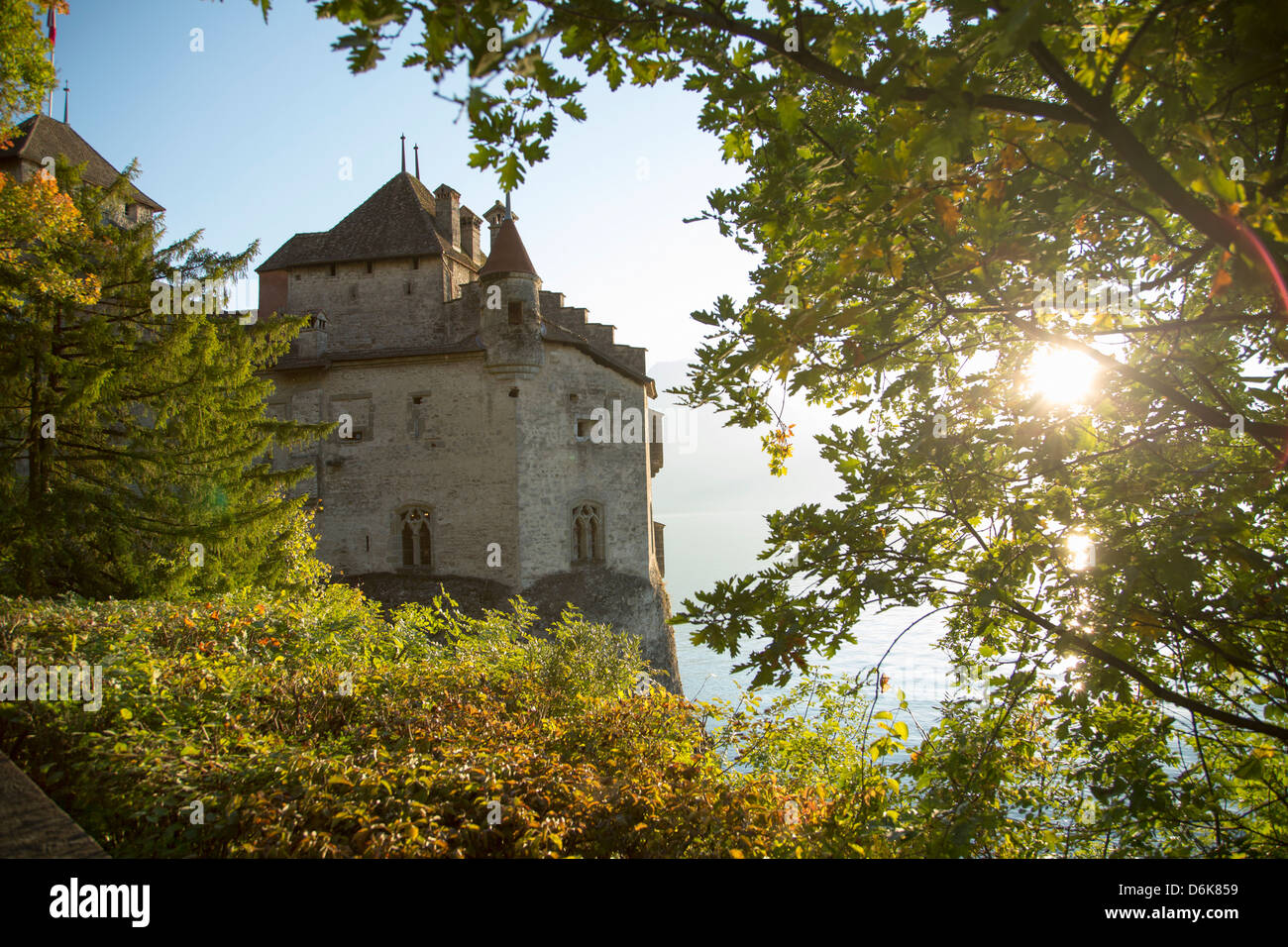 The Castle of Chillon, on Lake Geneva, Montreux, Canton Vaud, Switzerland, Europe - Stock Image