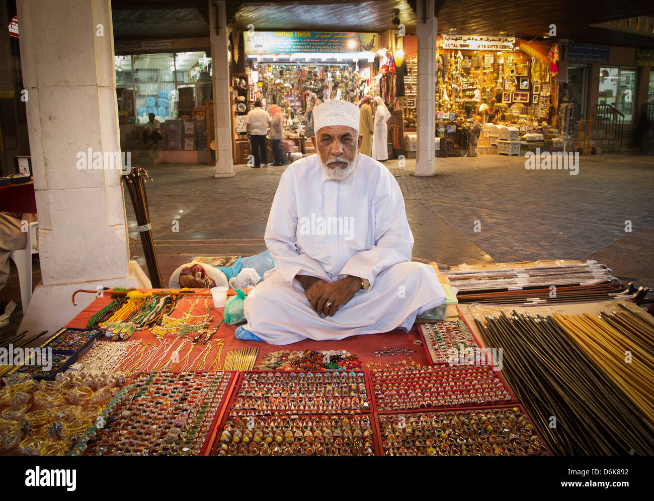 Merchant in Muscat's Souk, Muscat, Oman, Middle East - Stock Image