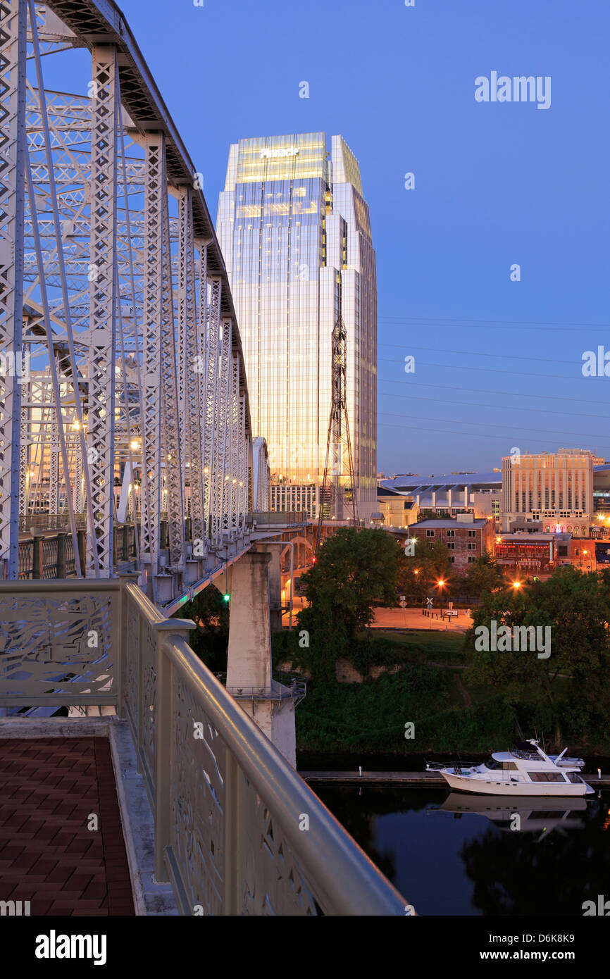 Pinnacle Tower and Shelby Pedestrian Bridge, Nashville, Tennessee, United States of America, North America - Stock Image