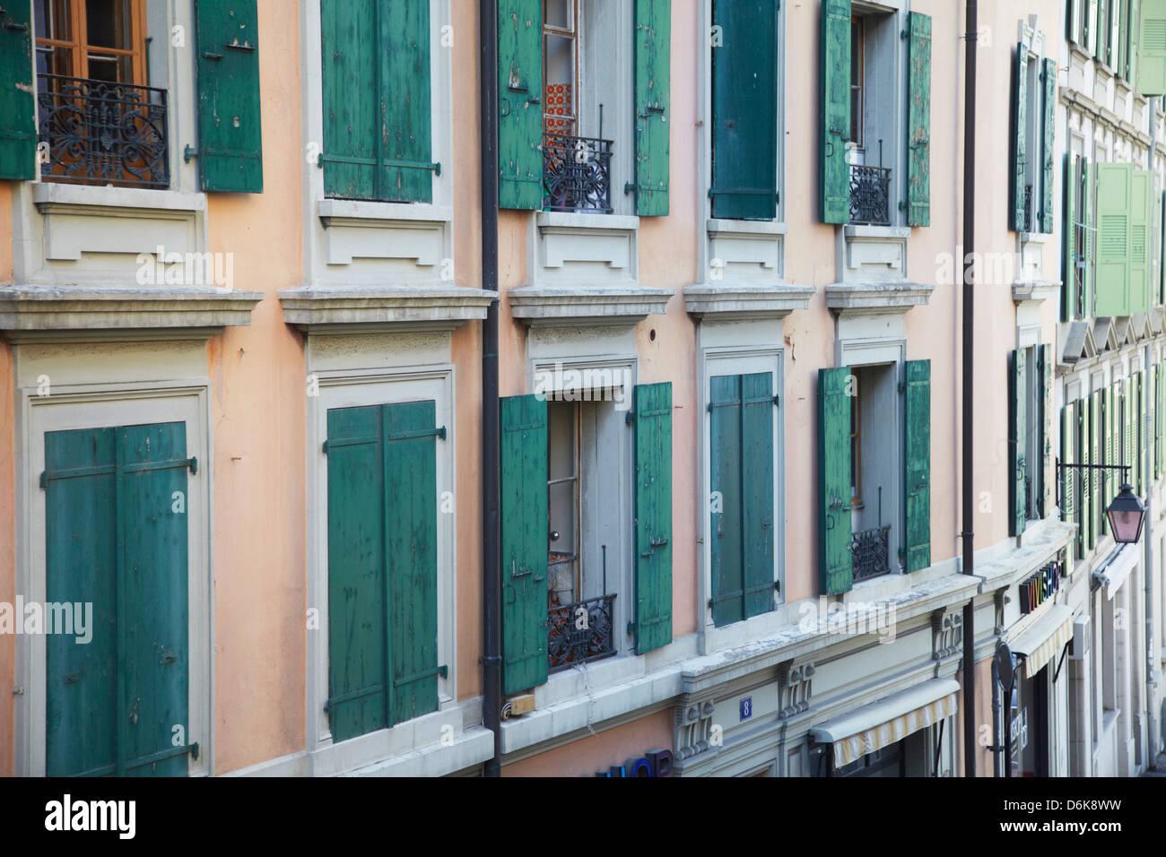 Typical architecture, Lausanne, Vaud, Switzerland, Europe - Stock Image