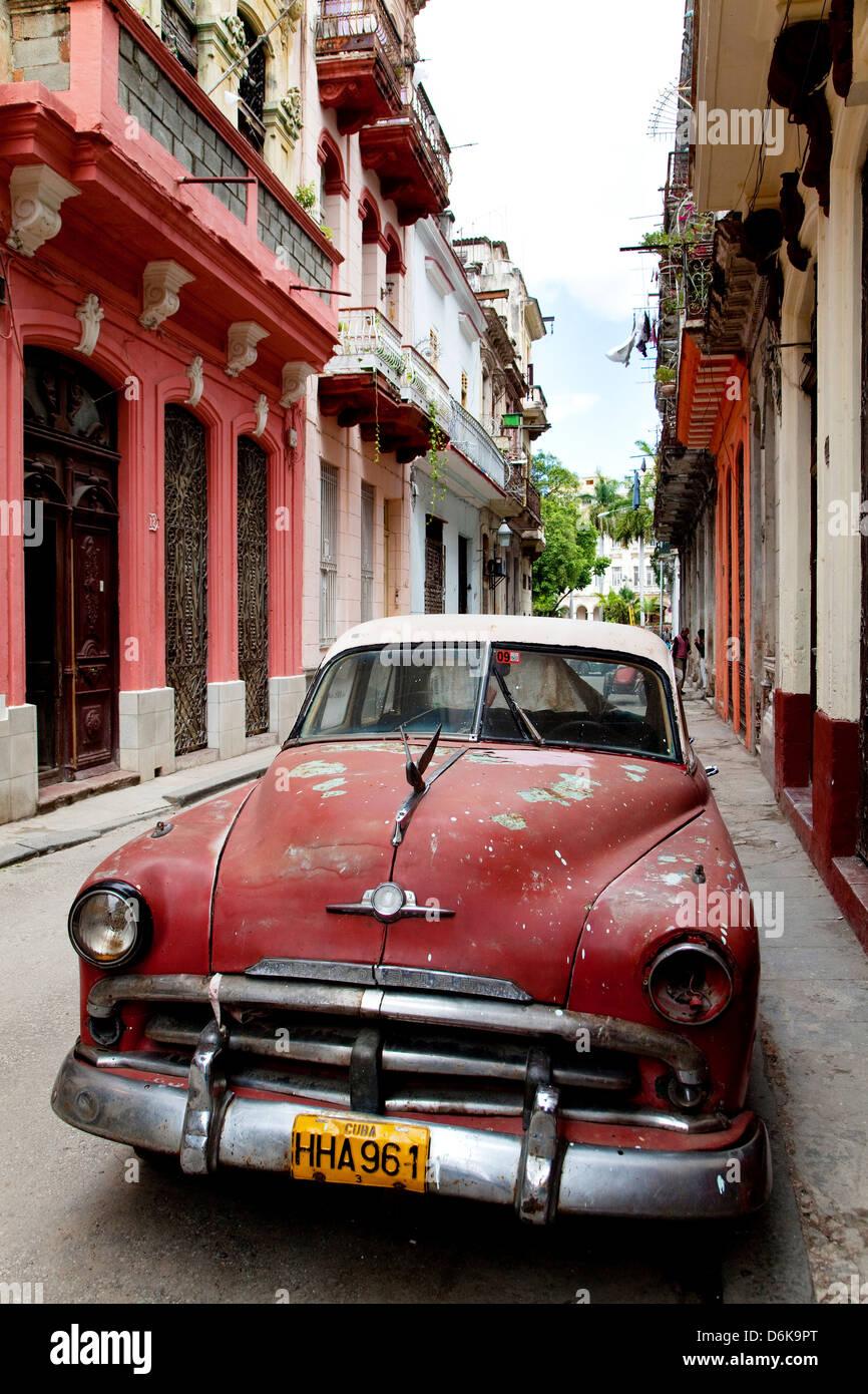 Old Plymouth car in the street. Cuban city of Havana, La Habana ...