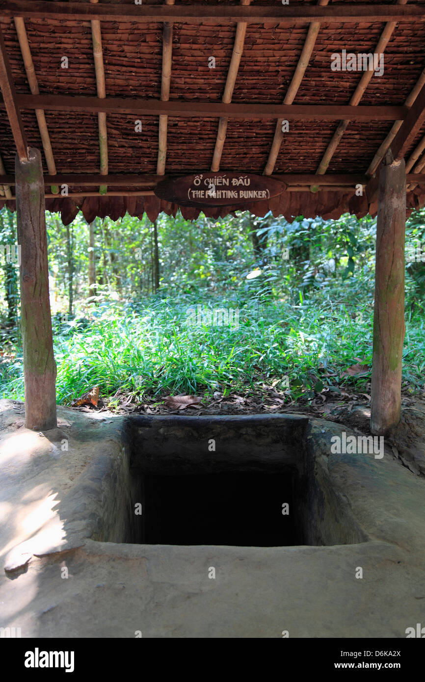Bunker, Cu Chi Tunnels, Ho Chi Minh City (Saigon), Vietnam, Indochina, Southeast Asia, Asia - Stock Image