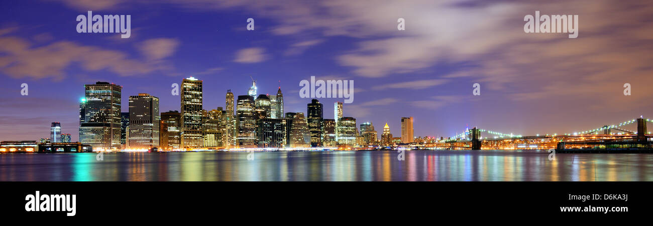 Lower Manhattan from across the East River in New York City. Stock Photo
