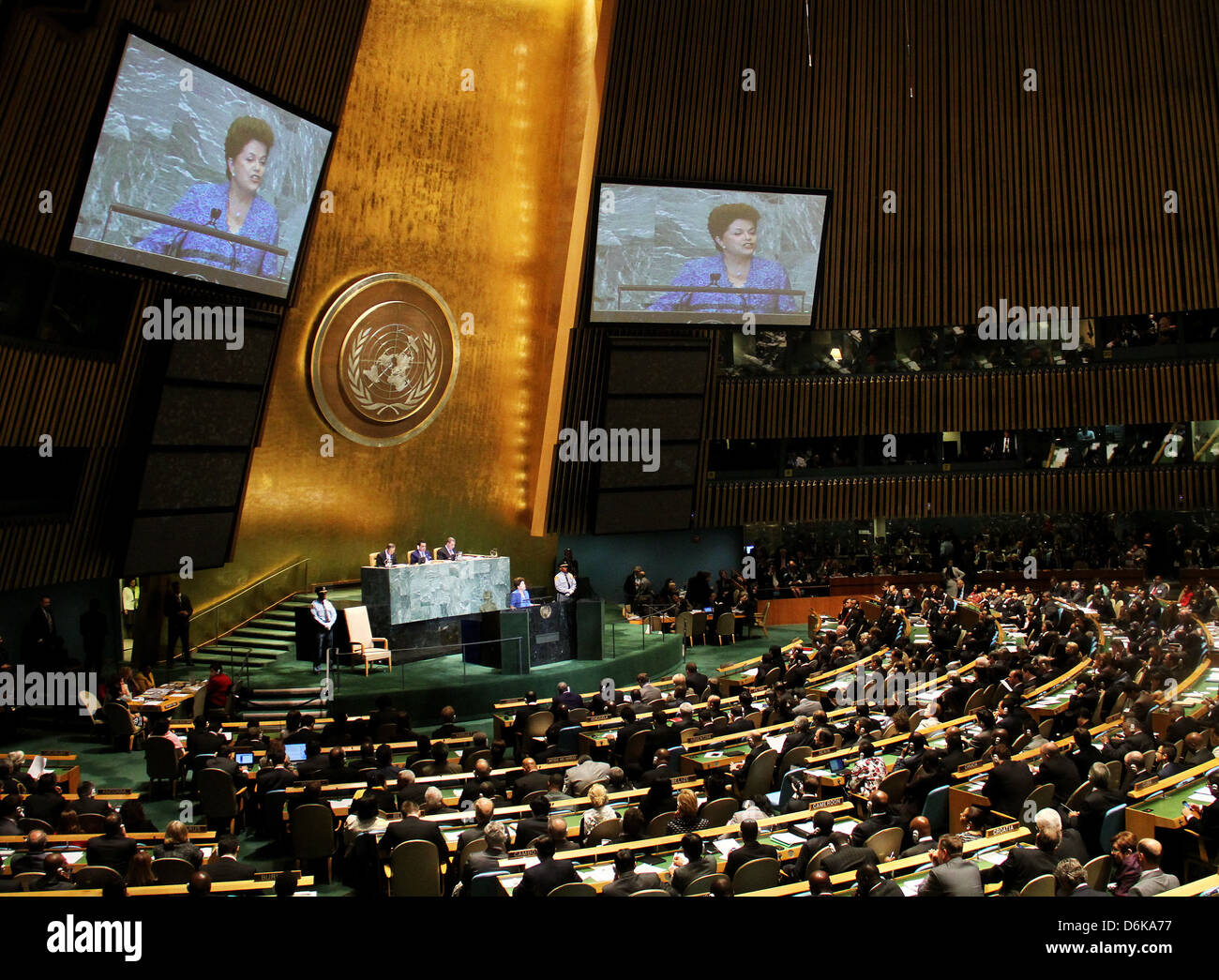 Brazilian President Dilma Rousseff delivers an address at the United Nations General Assembly at UN headquarters - Stock Image