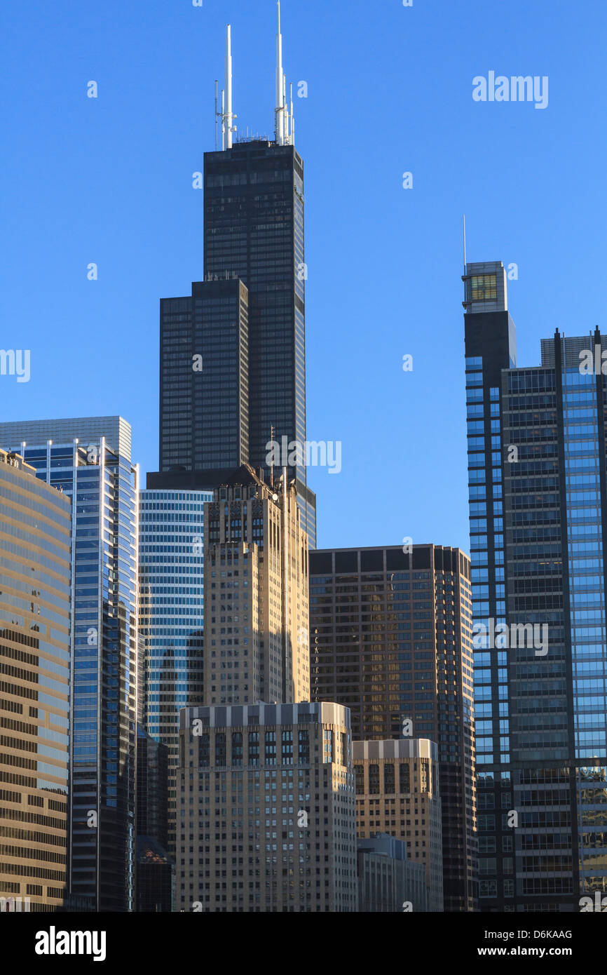 Skyscrapers including Willis Tower, formerly Sears Tower, Chicago, Illinois, United States of America, North America - Stock Image