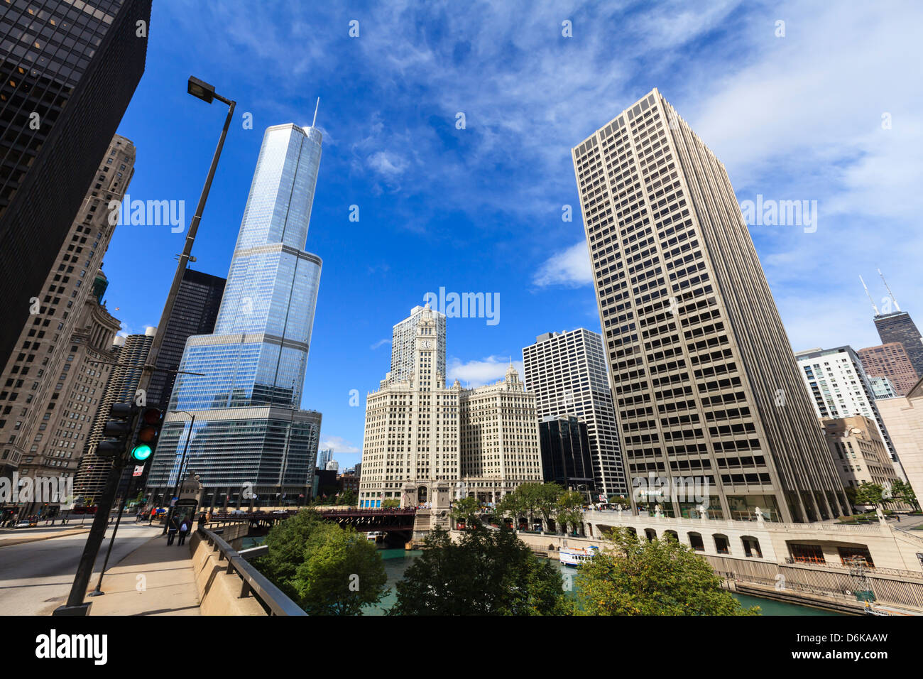 Chicago River looking towards Trump Tower and the Wrigley Building, Chicago, Illinois, United States of America, - Stock Image