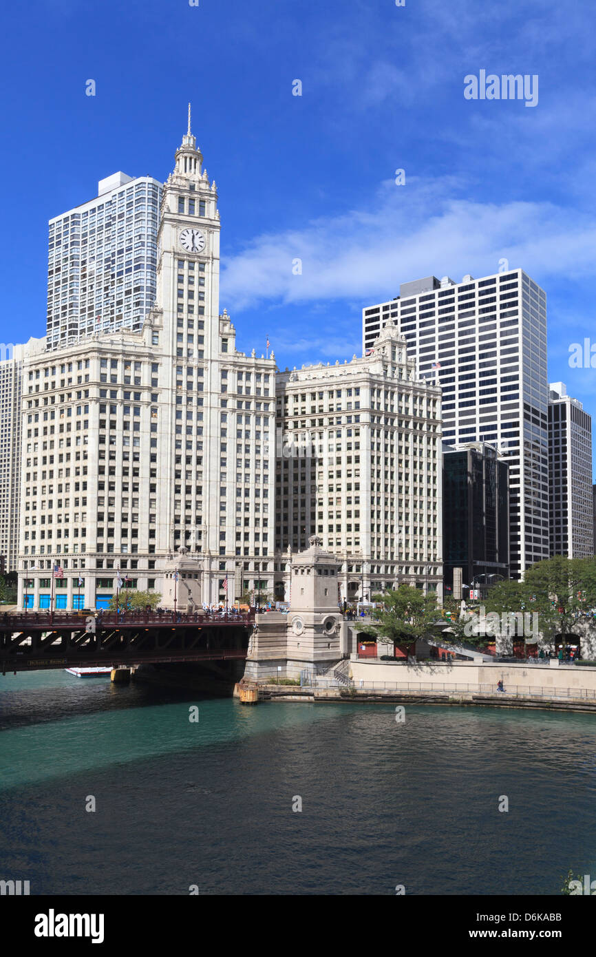 The Wrigley Building and Chicago River, Chicago, Illinois, United States of America, North America - Stock Image