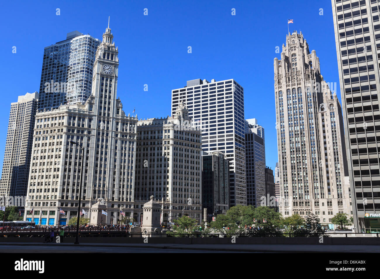 Wrigley Building and Tribune Tower, Chicago, Illinois, United States of America, North America - Stock Image