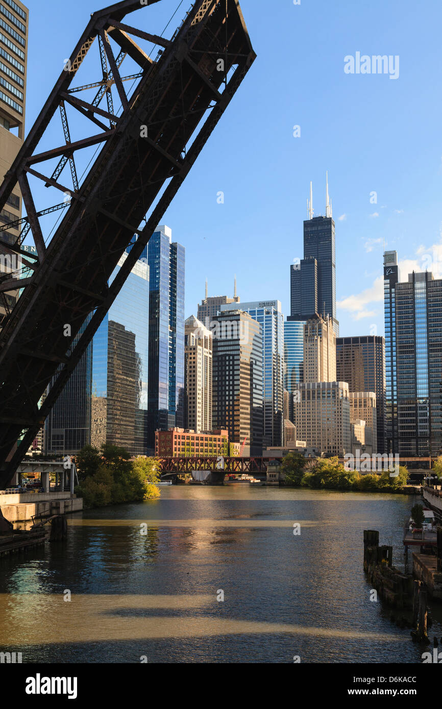 Chicago River and towers of the West Loop area, Willis Tower, formerly Sears Tower in the background, Chicago, Illinois, - Stock Image