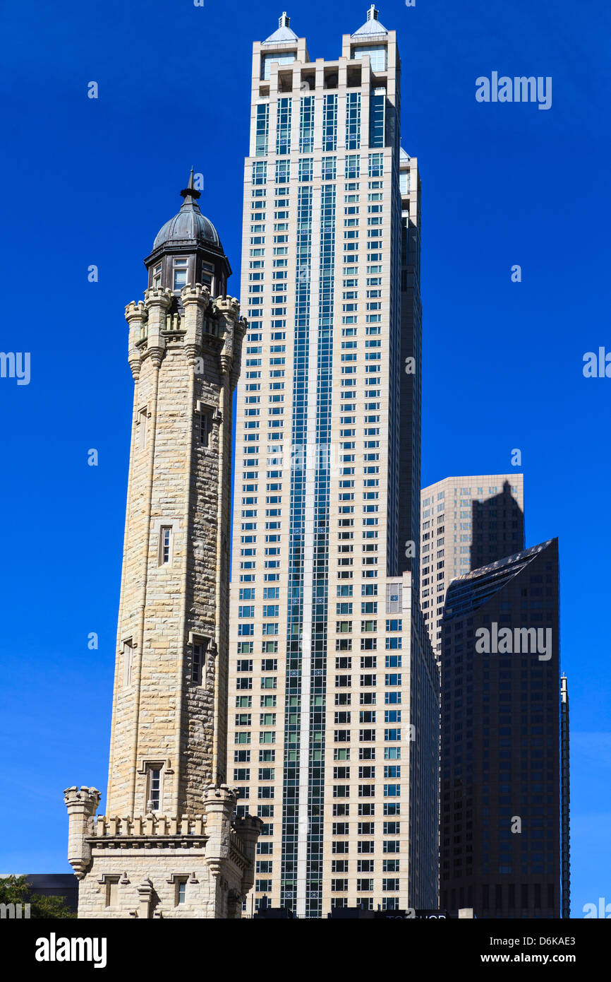 Chicago Water Tower, behind is 900 North Michigan, Chicago, Illinois, United States of America, North America - Stock Image