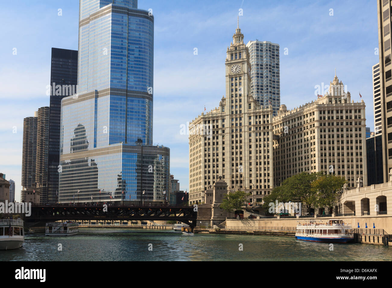 Trump Tower and the Wrigley Building by the Chicago River, Chicago, Illinois, United States of America, North America - Stock Image