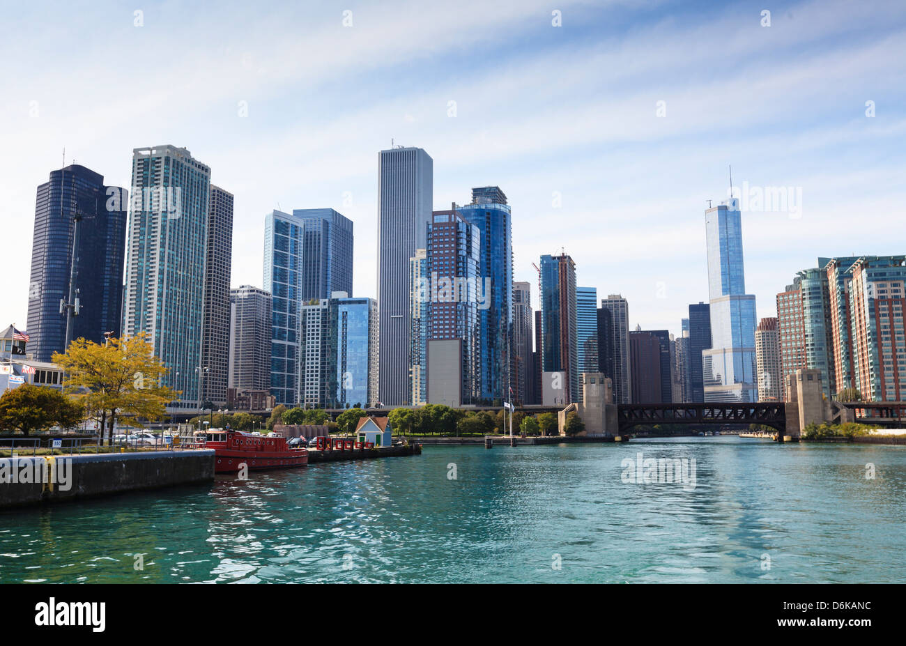 City skyline from the Chicago River, Chicago, Illinois, United States of America, North America - Stock Image
