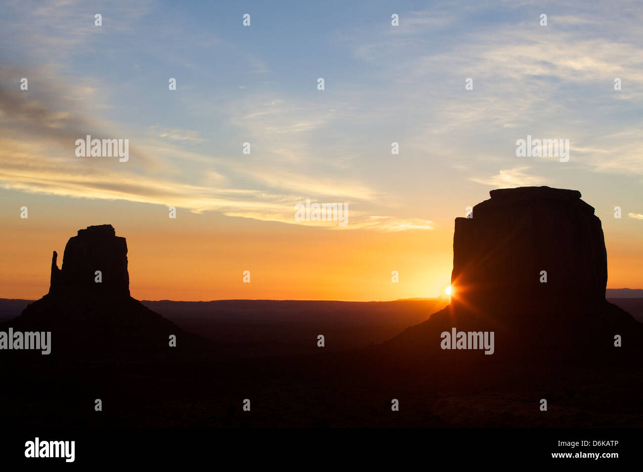Monument Valley at dawn, Utah, United States of America, North America - Stock Image