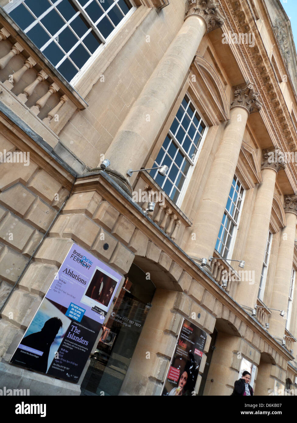 Advertising posters on the front of the Theatre Royal Bristol Old Vic  building on King Street in Bristol England - Stock Image