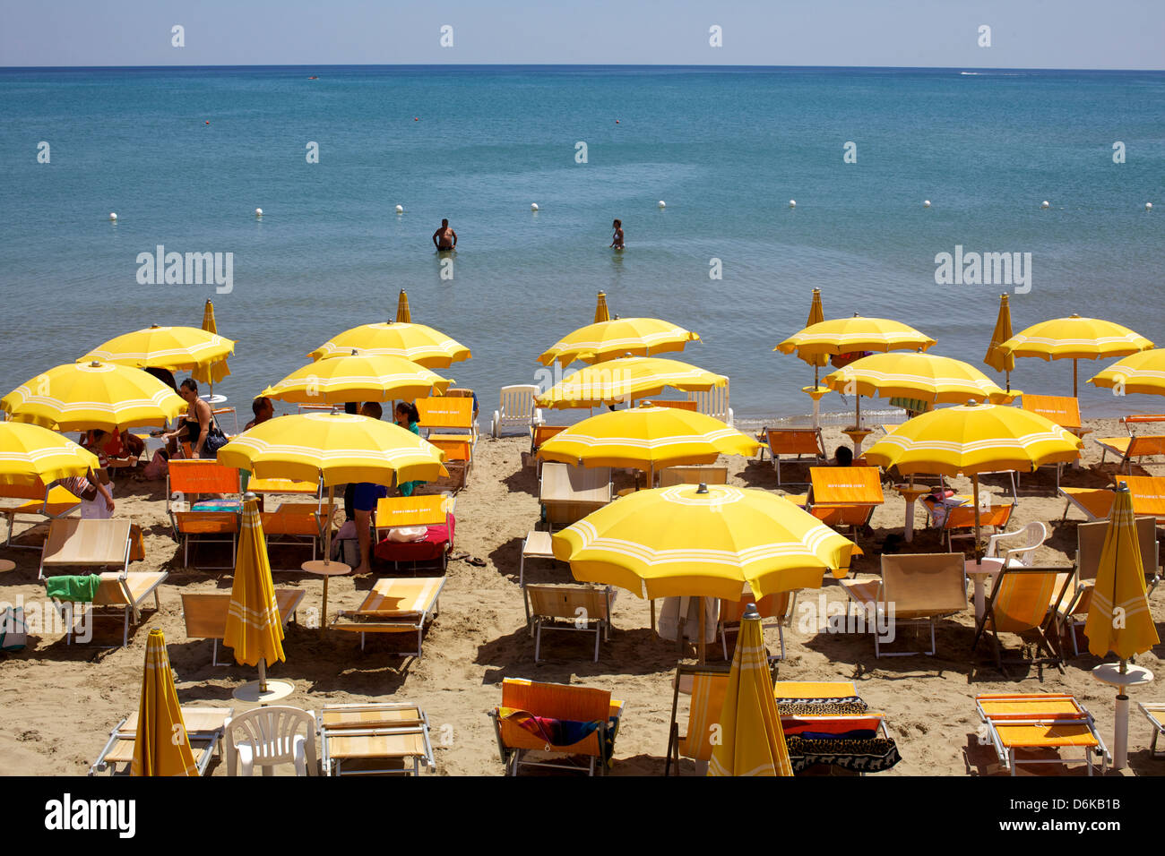 A classical Lido on the Ionian Sea, on the Basilcata south coast, Italy, Europe - Stock Image