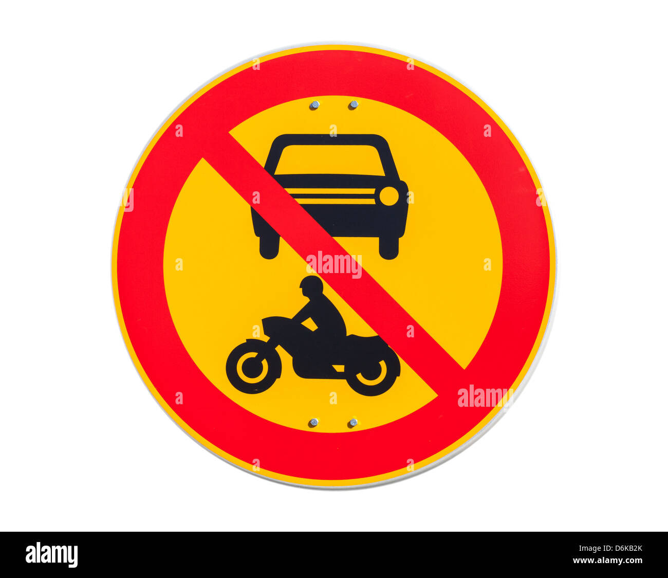 European round traffic sign, the passage of vehicles and motorcycles prohibited - Stock Image