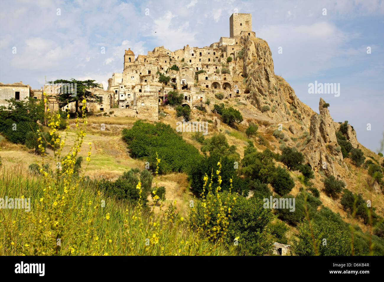 The Citadelle, deserted village of Craco in Basilicata, Italy, Europe Stock Photo