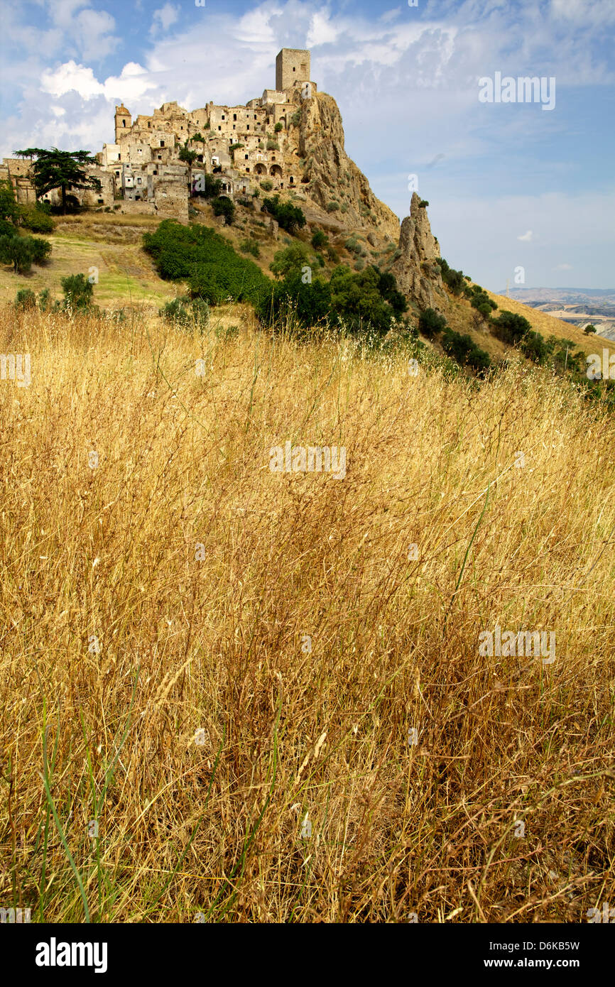 The Citadelle, deserted village of Craco in Basilicata, Italy, Europe - Stock Image