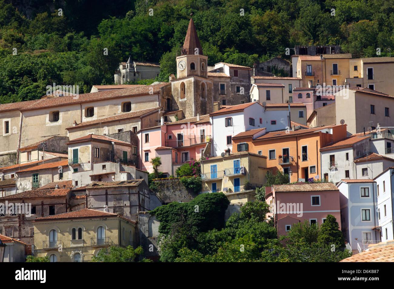 The small town of Maratea, on the Tyrrhenian Sea, Basilicata, Italy, Europe - Stock Image