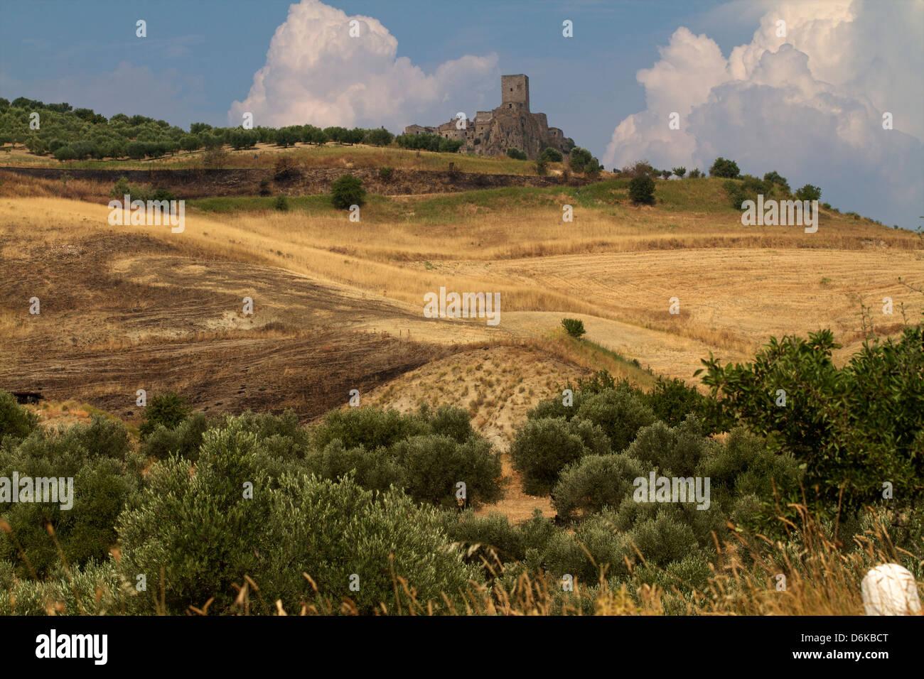 The deserted village of Craco, close to Matera, Basilicata, Italy, Europe - Stock Image