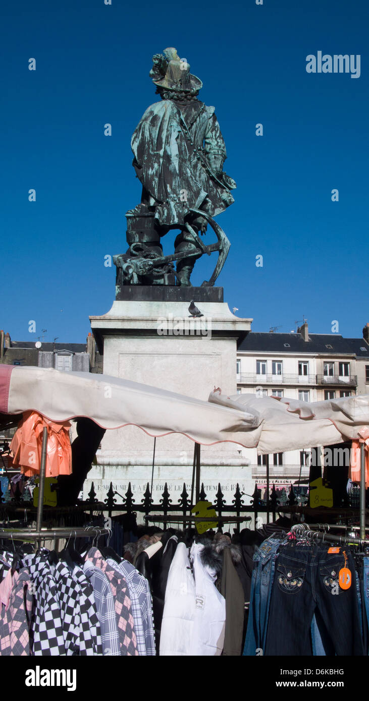 Statue, Jean Ango and street market, Dieppe, France - Stock Image