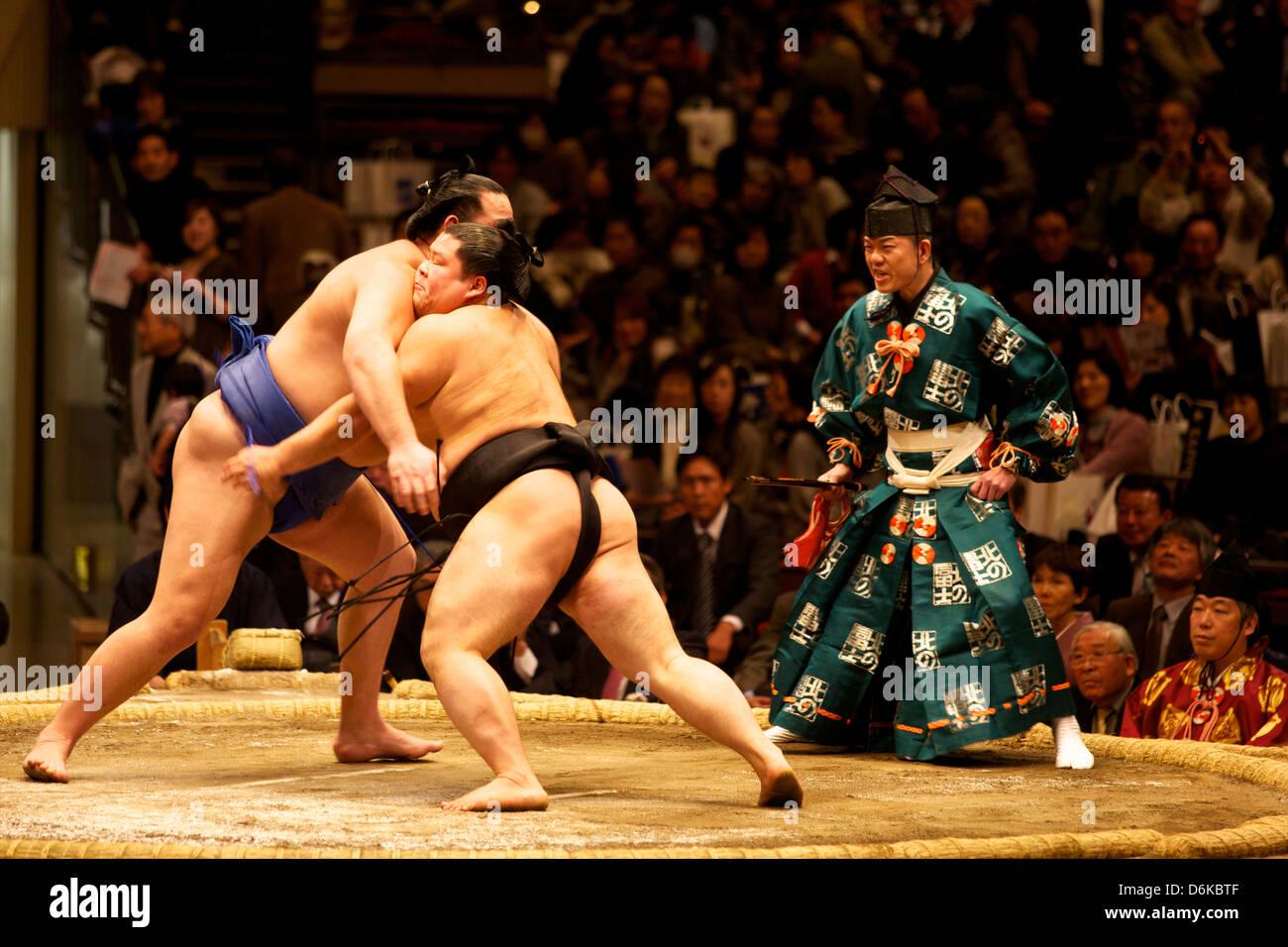 Two sumo wrestlers fighting at the Kokugikan stadium, Tokyo, Japan, Asia - Stock Image