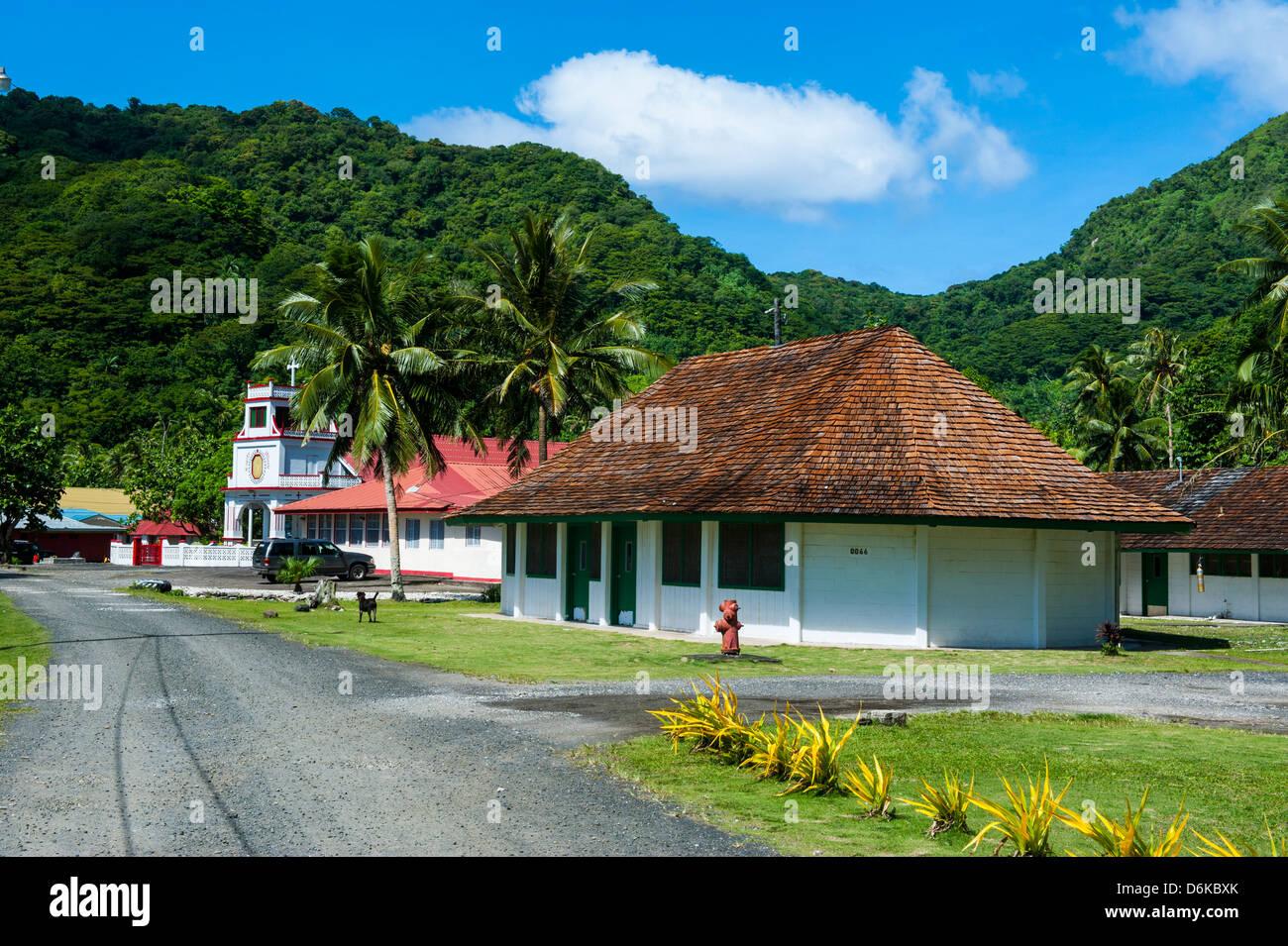 Afono village, American Samoa, South Pacific, Pacific - Stock Image