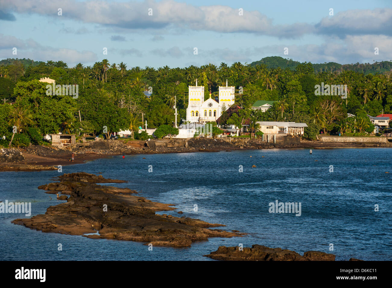 Church in the tropical surroundings, Tutuila Island, American Samoa, South Pacific, Pacific - Stock Image