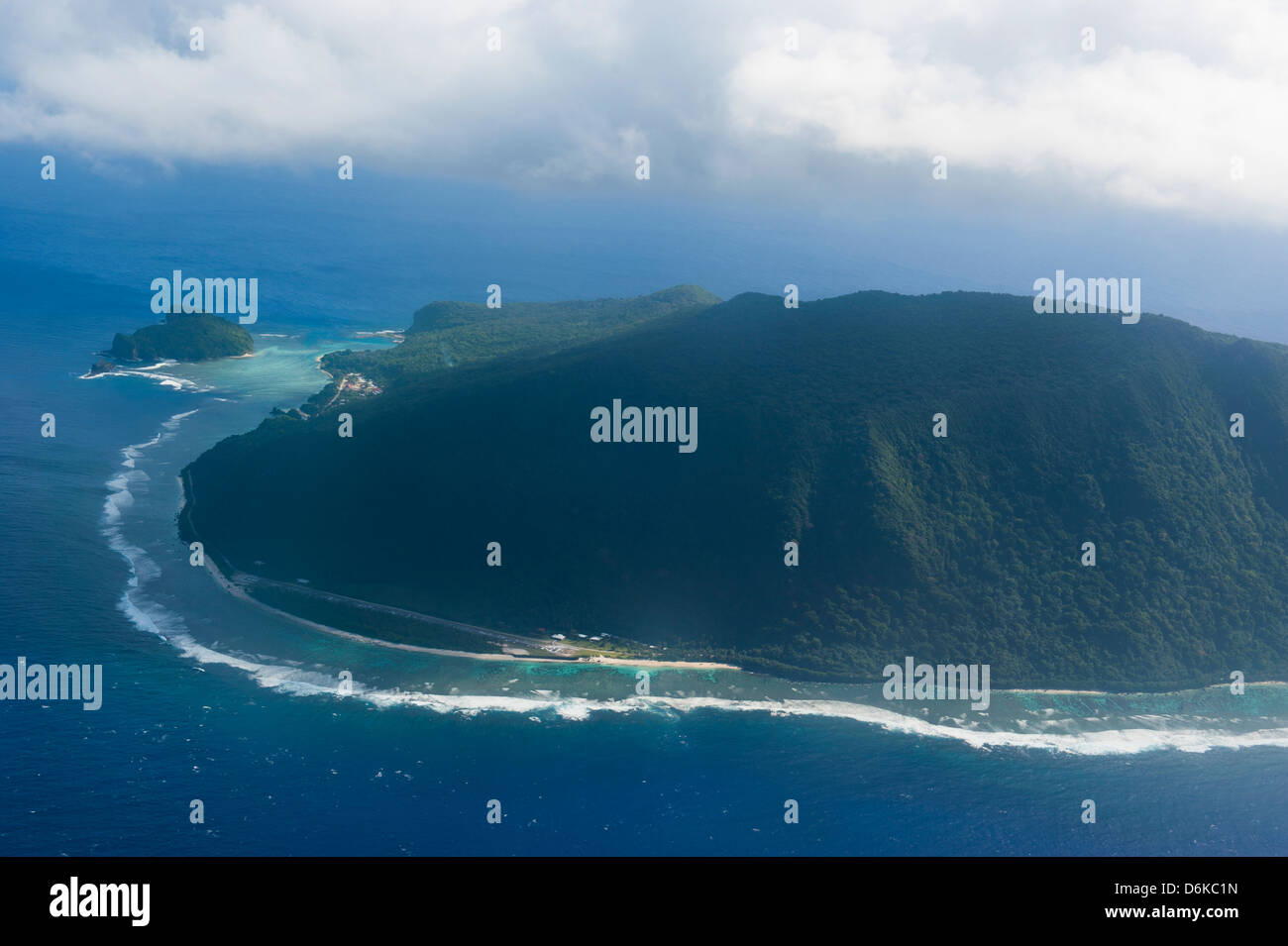 Aerial of Ofu Island, Manua Island group, American Samoa, South Pacific, Pacific - Stock Image