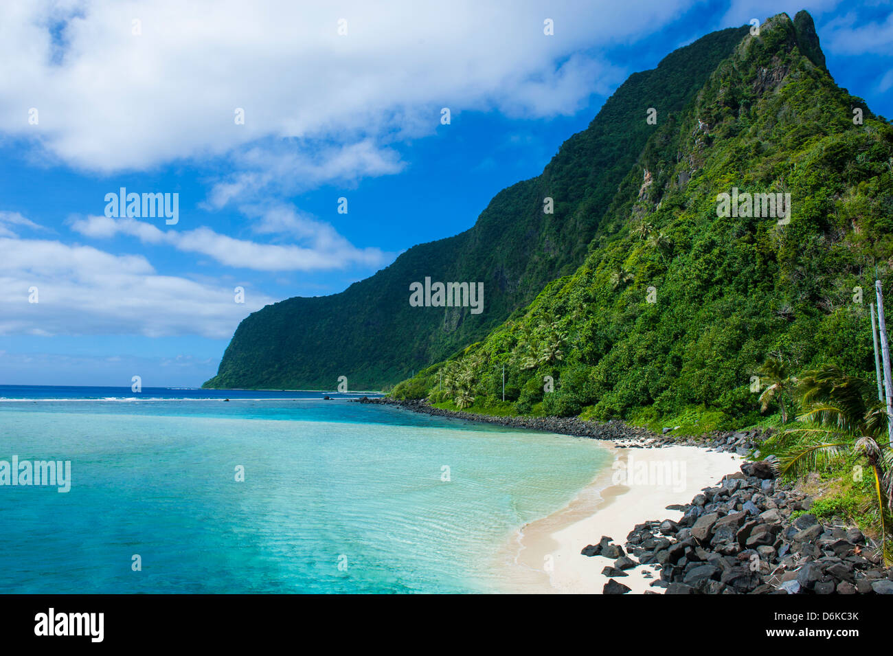 Turquoise water and white sand beach on Ofu Island, Manua Island group, American Samoa, South Pacific, Pacific - Stock Image