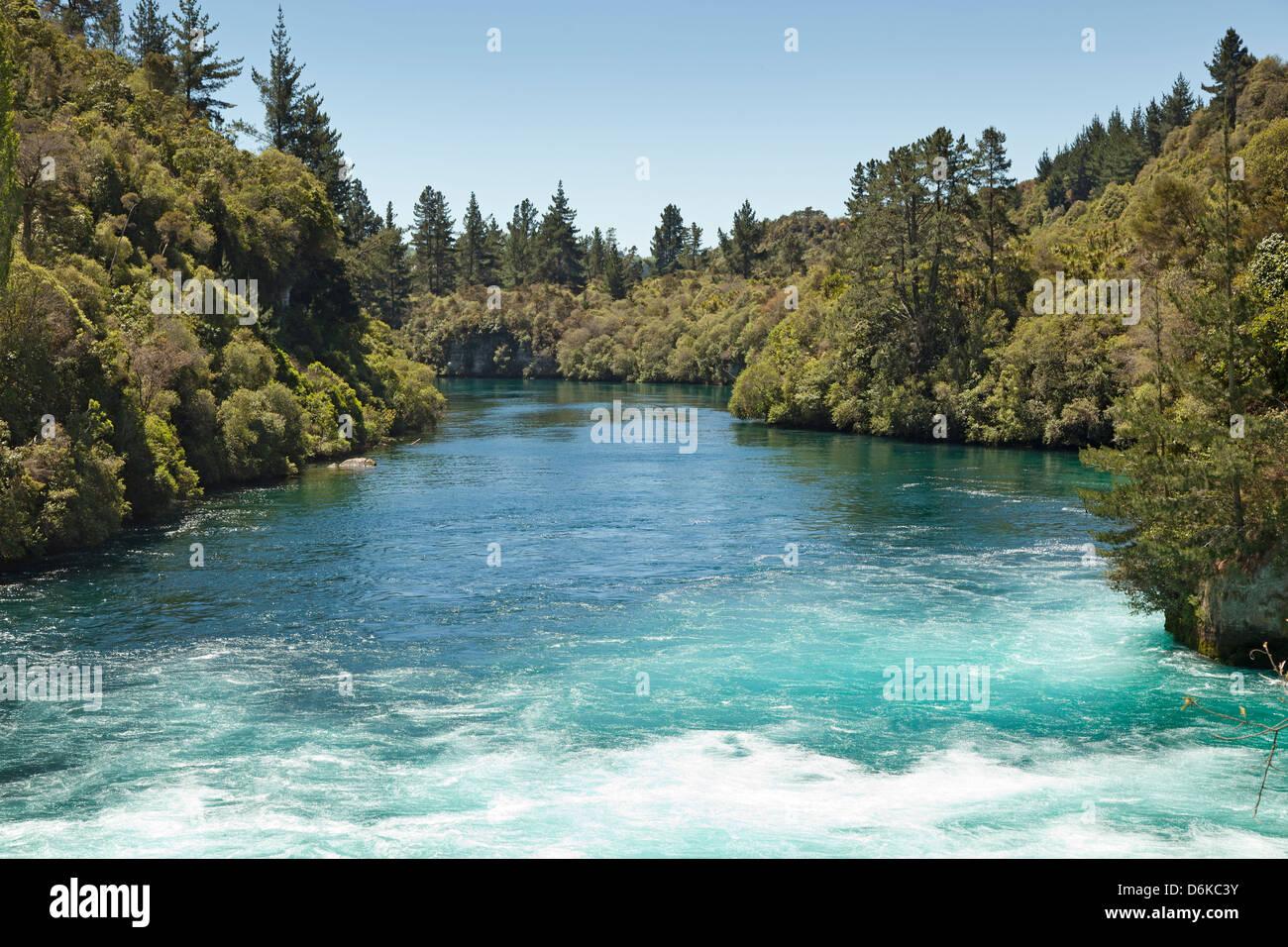 The Waikato River rushes toward Huka Falls near Taupo New Zealand - Stock Image