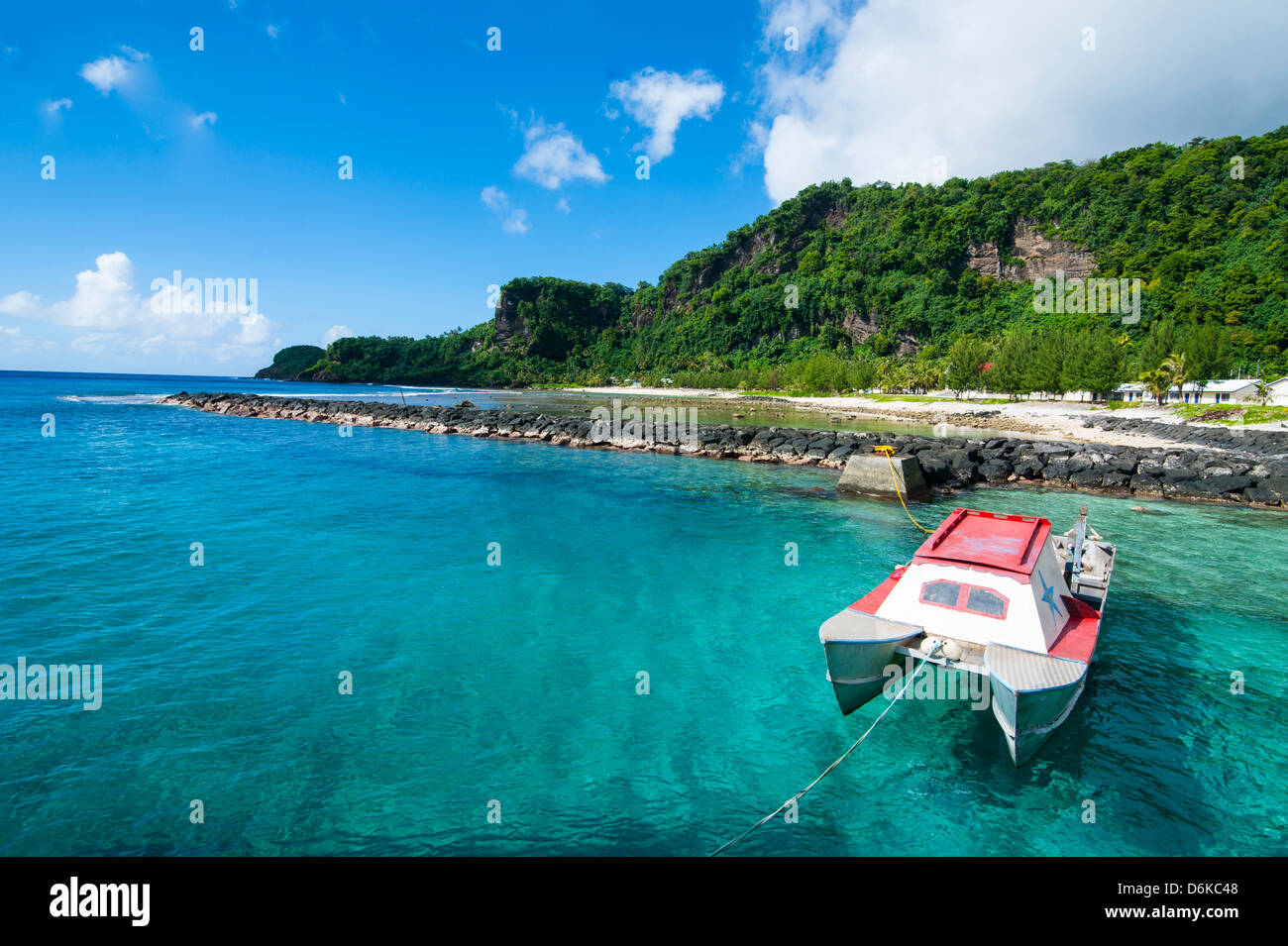 Pretty bay and turquoise water on Tau Island, Manua Island group, American Samoa, South Pacific, Pacific - Stock Image