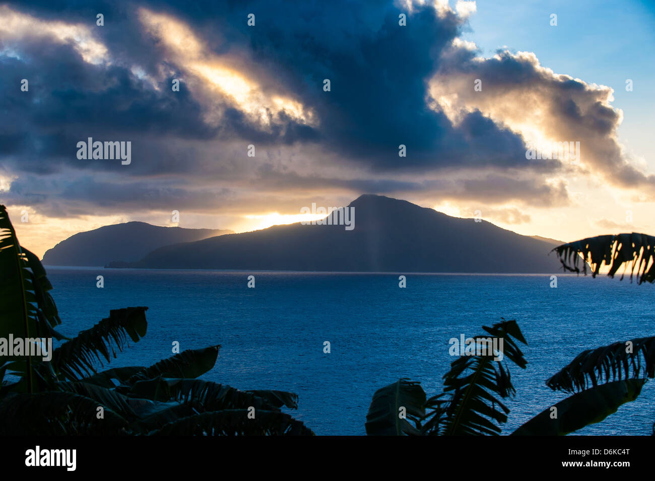 Sunset over Ofu Island, Manua Island group, American Samoa, South Pacific, Pacific - Stock Image