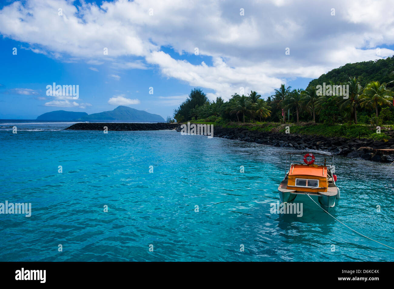The little harbour of Tau Island, Manua Island group, American Samoa, South Pacific, Pacific - Stock Image