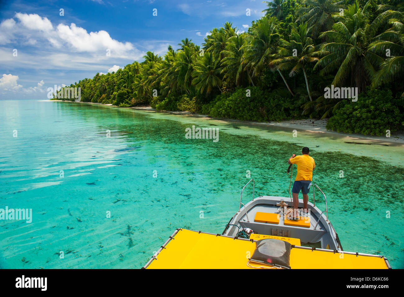 Yellow sundeck of a boat in the Ant Atoll, Pohnpei, Micronesia, Pacific - Stock Image