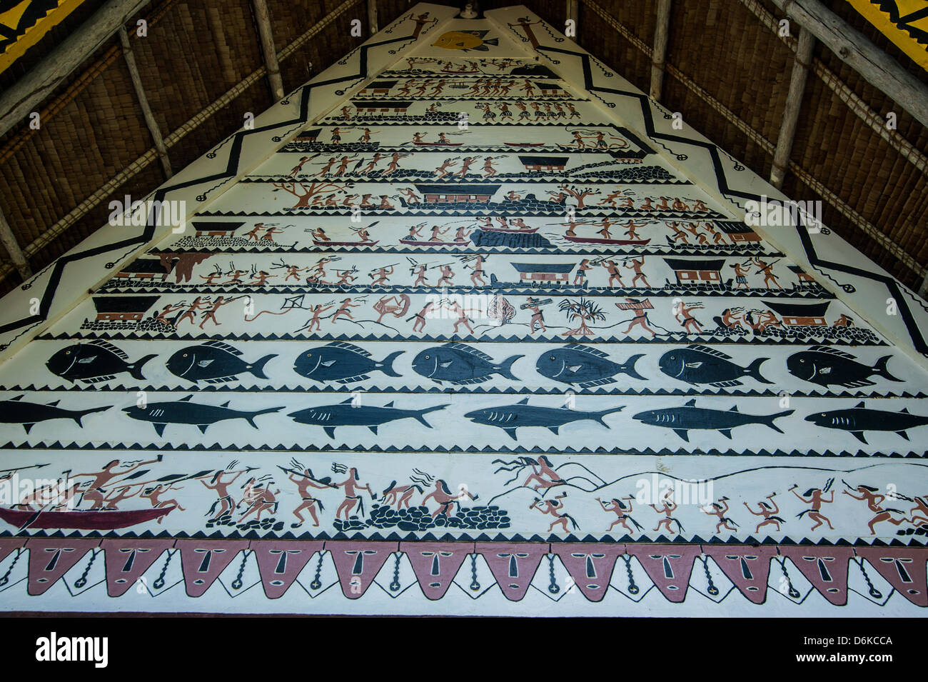 Detail of paintings on the Oldest Bai of Palau, a house for the village chiefs, Island of Babeldoab, Palau, Central - Stock Image