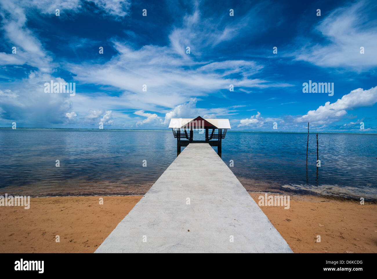 Boat pier in the north of the Island of Babeldoab, Palau, Central Pacific, Pacific - Stock Image