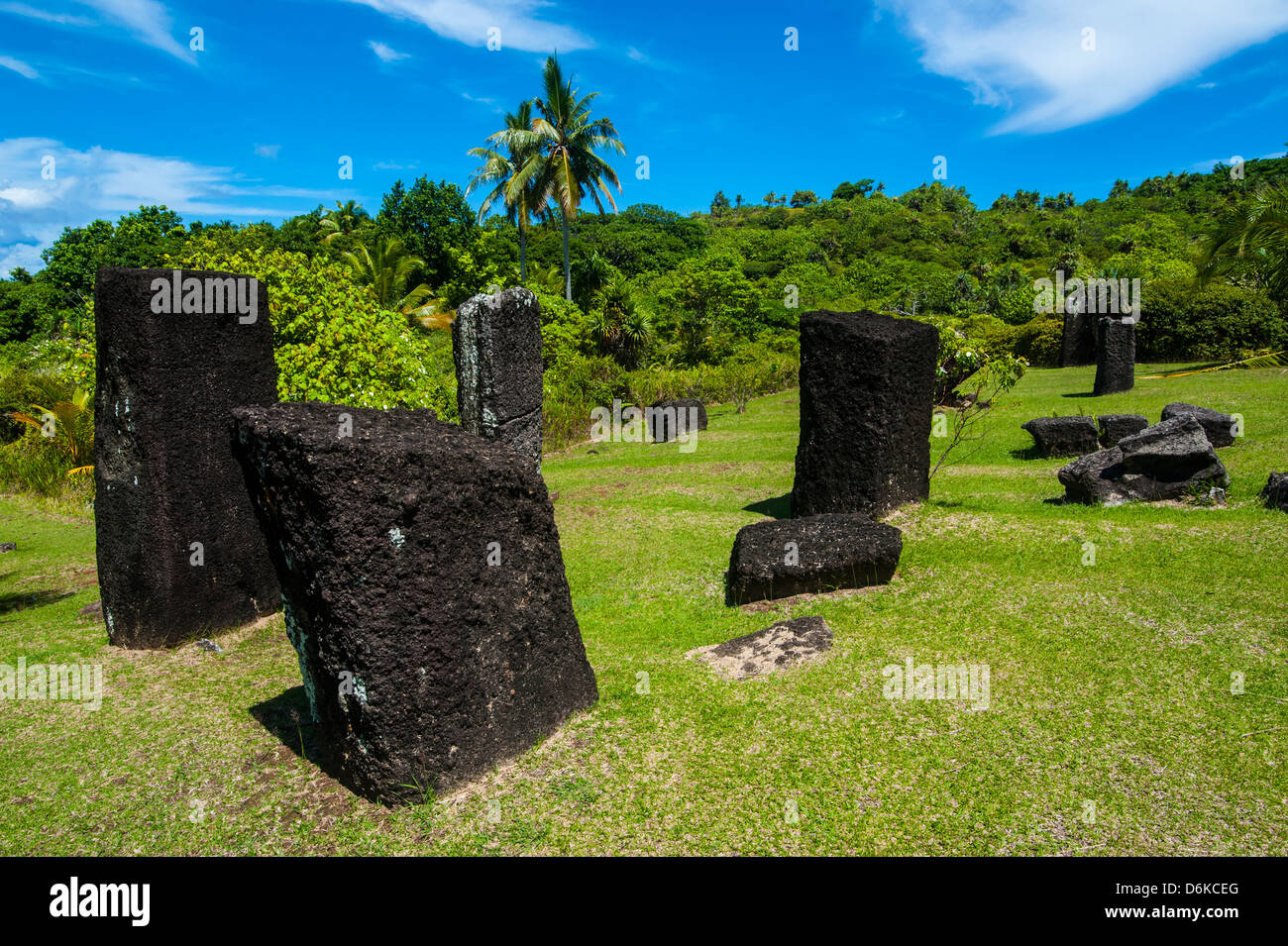 Basalt monoliths known as Badrulchau, Island of Babeldoab, Palau, Central Pacific, Pacific - Stock Image