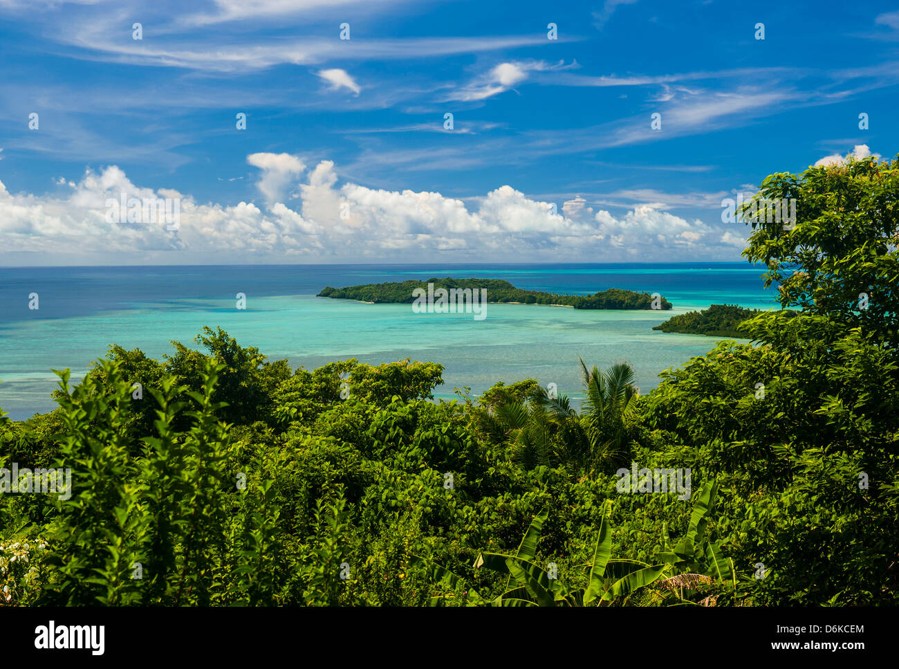 Outlook over the Island of Babeldoab and small islets, Palau, Central Pacific, Pacific - Stock Image