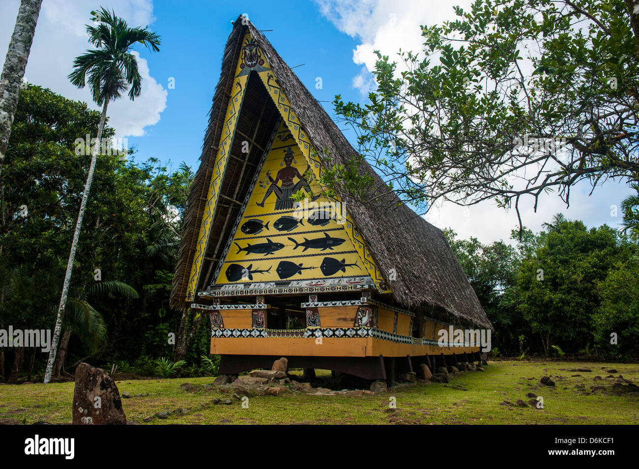 Old bai, a chief's house on the Island of Babeldoab, Palau, Central Pacific, Pacific - Stock Image