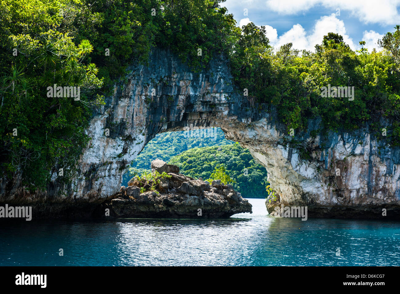 Rock arch in the Rock islands, Palau, Central Pacific, Pacific - Stock Image