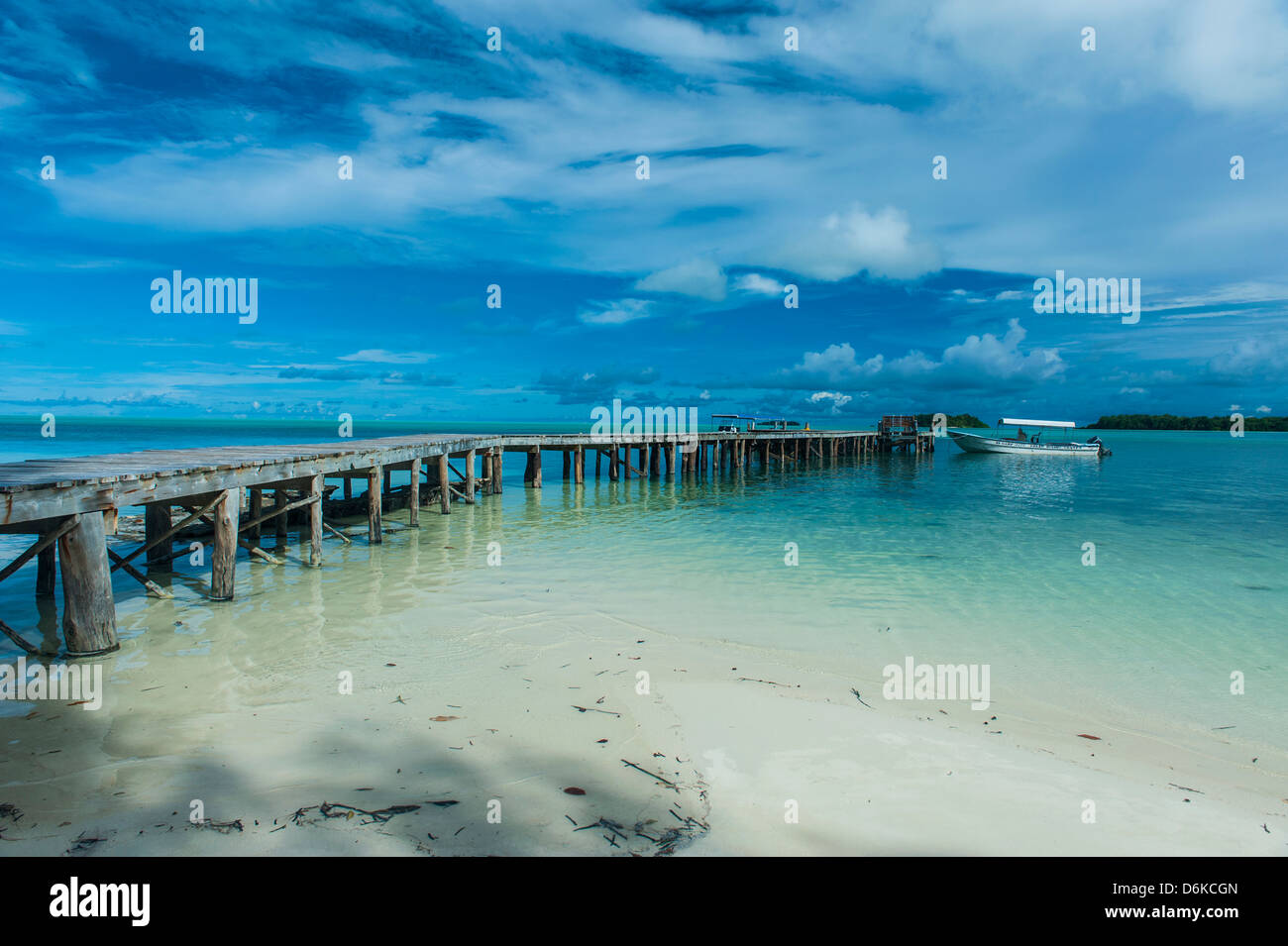 Boat pier on Carp island, one of the Rock islands, Palau, Central Pacific, Pacific - Stock Image