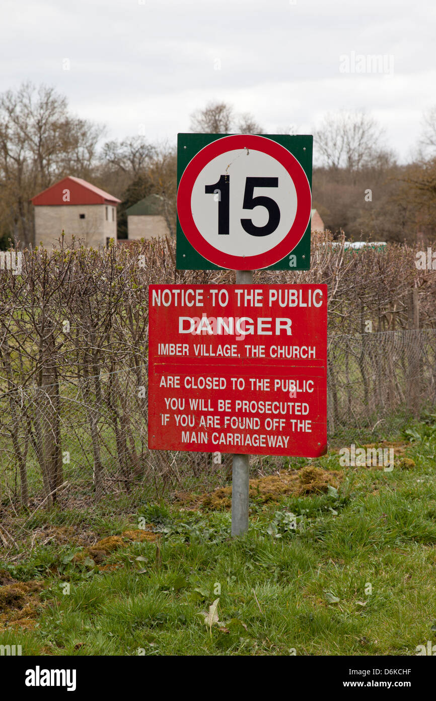 15mph sign and danger notice, Imber, Salisbury Plain, Wiltshire - Stock Image