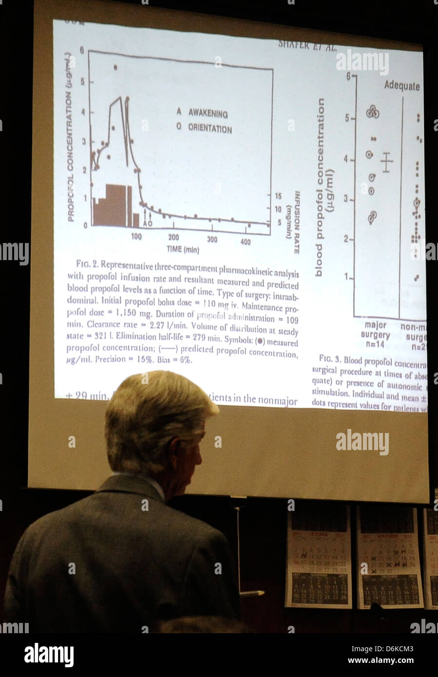 A diagram showing propofol blood levels is projected on a screen as defense attorney J. Michael Flanagan questions - Stock Image