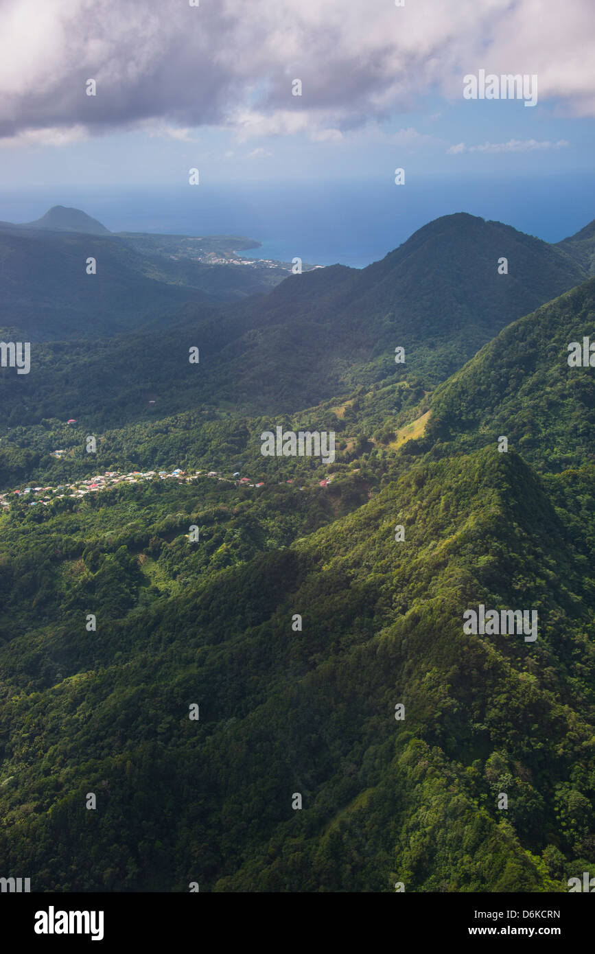 Aerial of Dominica, West Indies, Caribbean, Central America - Stock Image