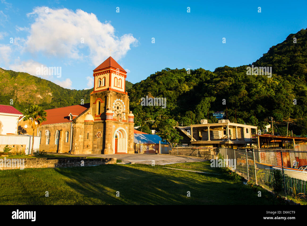 Anglican church in Soufriere, Dominica, West Indies, Caribbean, Central America - Stock Image