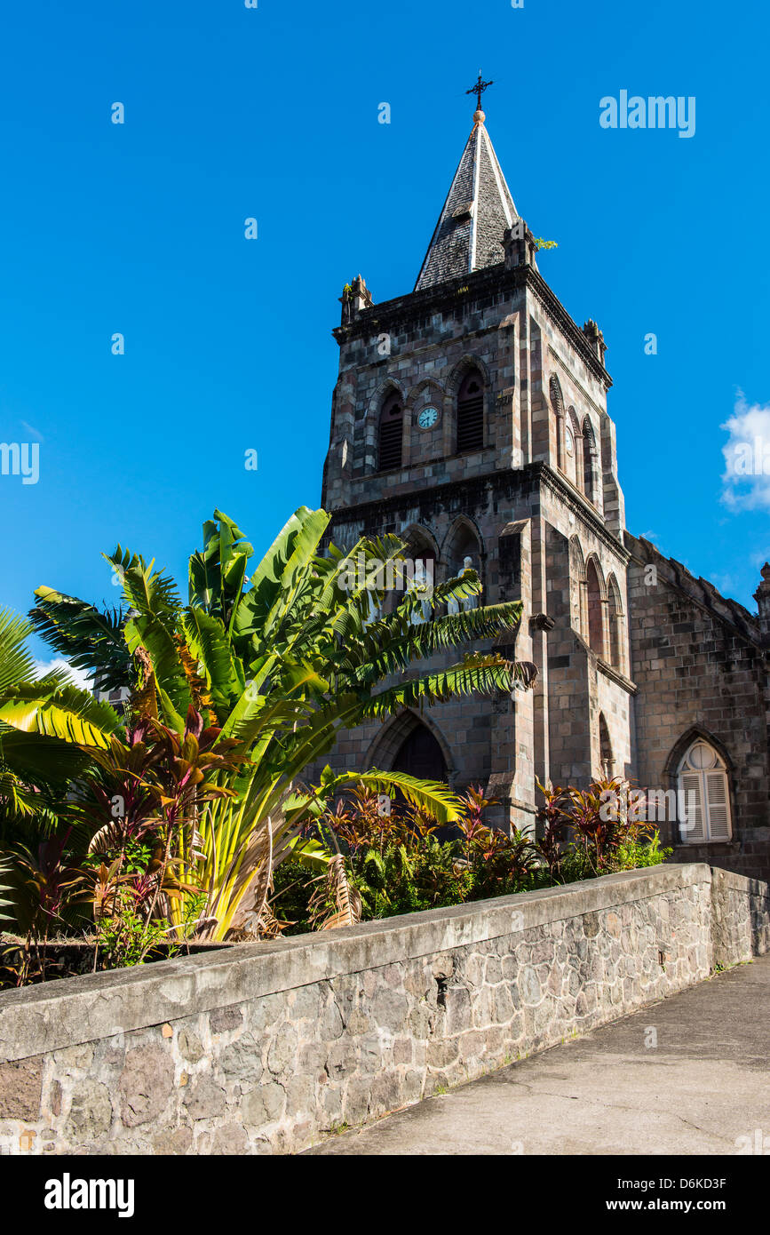 Anglican church in Roseau capital of Dominica, West Indies, Caribbean, Central America - Stock Image