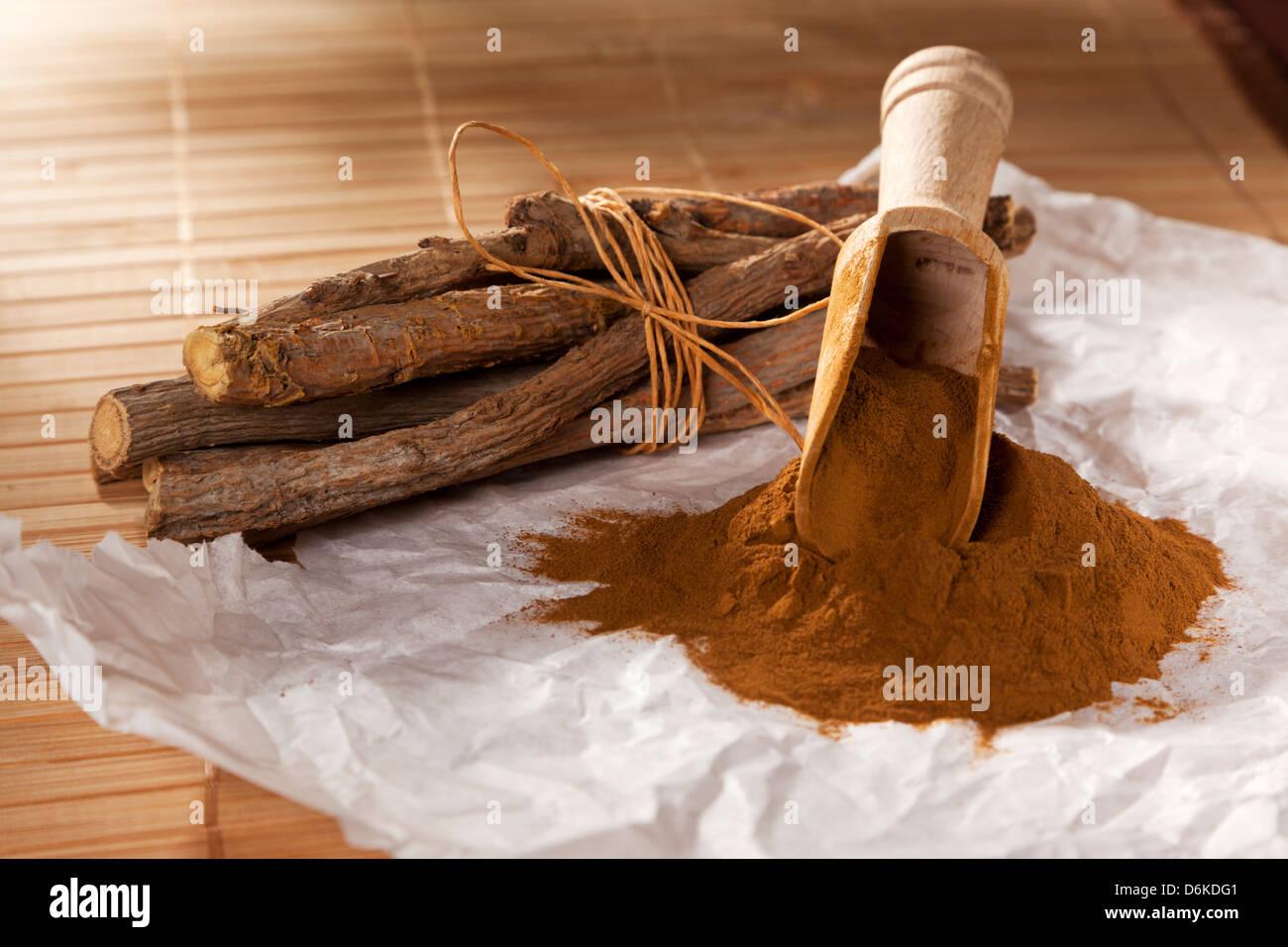 Ground licorice and liquorice roots - Stock Image